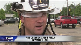 Fire destroys Jet's Pizza in Walled Lake