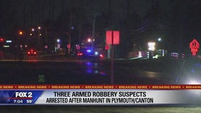 Three armed robbery suspects arrested after manhunt in Plymouth and Canton