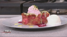 Cherry Chip Donut Bread Pudding recipe from Browndog Creamery