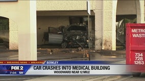 Driver dies after crashing car into building along Woodward Ave in Berkley