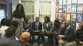 Michelle Obama surprises students in Detroit