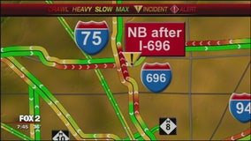 I-75 closed at I-696 due to hazmat crash clean-up