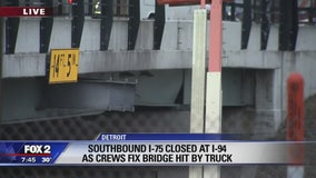 I-75 Warren overpass damaged by semi-truck; alt routes advised