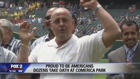 Dozens sworn in as American citizens at Comerica Park before Tigers game
