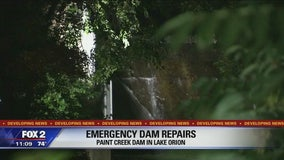 Emergency repairs on Paint Creek dam in Lake Orion