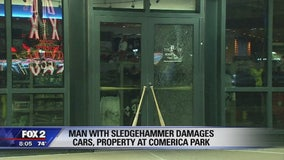 Suspect takes sledgehammer to several windows at Comerica Park