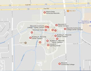 Report of armed man sighting causes lockdown at Macomb ... on wayne state university campus map, south plains college campus map, missouri western campus map, broward college south campus map, ecc south campus map, nova cc medical campus map, macomb center campus map basic, community hospital south campus map, south davis recreation center map, springfield college campus map, south mountain community college map, south suburban college campus map, tarrant county college south campus map, college of marin campus map, bates technical college south campus map, delta college michigan campus map, spokane falls community college building map, michigan community colleges map,