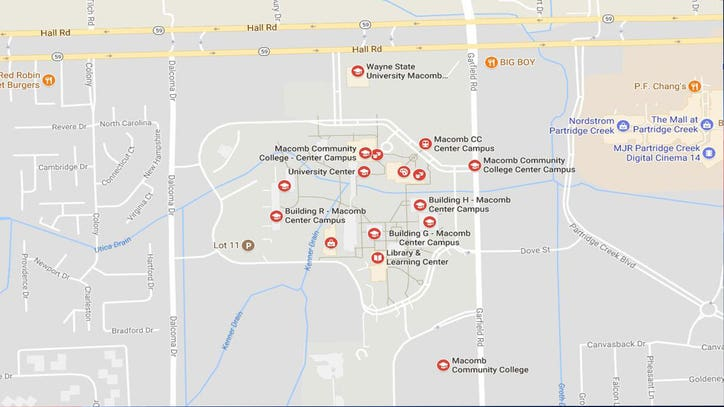 Report of armed man sighting causes lockdown at Macomb ... on wiu campus map, florida southern college campus map, oakland university mi campus map, western illinois campus map, henry ford community college campus map, mott community college campus map, south davis recreation center map, wayne state university campus map, macomb community college degree, nova cc medical campus map,