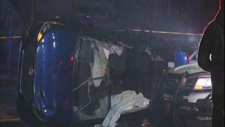 1 dead, 3 injured in rollover crash on Detroit's west side