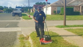 Texas school bus driver mows grass outside vacant home so kids don't have to stand in weeds