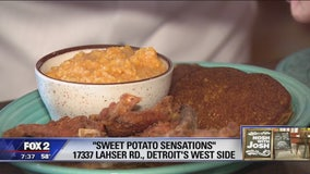 Trying out the food at Sweet Potato Sensations