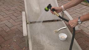 Cleaning the patio furniture with non-toxic chemicals