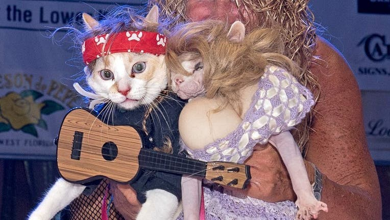 Diana Benton shows off her two cats dressed as country superstars Willie Nelson and Dolly Parton during the Fantasy Fest Pet Masquerade.