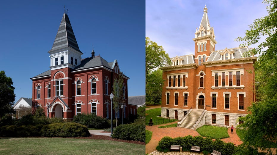 Hargis Hall on the main campus at Auburn University and Benson Science Hall on the campus of Vanderbilt University are shown in file images. (Photo by Carol M. Highsmith/Buyenlarge & Vanderbilt/Collegiate Images via Getty Images)