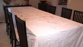 Family's signed Thanksgiving tablecloth from family members spans almost 60 years