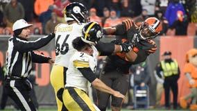 NFL Brawl: Browns Garrett loses cool, hits Steelers QB with helmet in brawl