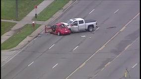 Woman killed when VW Beetle drifts into traffic, hit by pickup truck in Warren