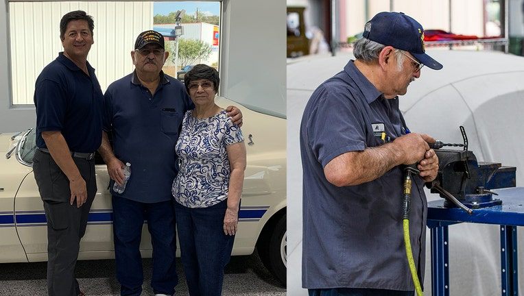 Rudy Quinones, who owns Renown Auto Restorations in San Antonio, has worked with Albert Brigas, a Vietnam veteran, for the better part of 13 years.