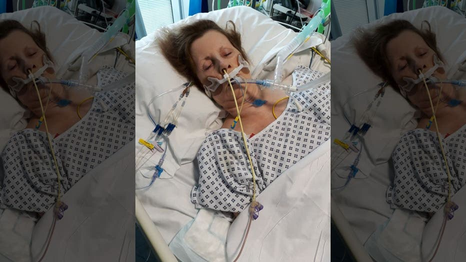 Shirley Hair in a medically induced coma in the hospital.