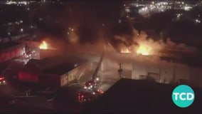 Large warehouse fire burns overnight in Dearborn