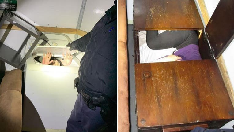 CPB officers freed some of the Chinese nationals from a washing machine, wooden chest. Another was found in a dresser, the agency said.