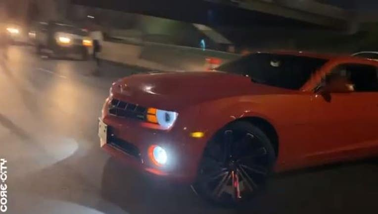 Drivers do donuts on I-94 in Detroit