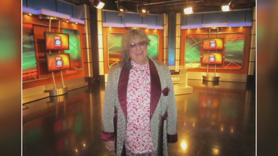 A photograph of Allee Willis in the FOX 2 News studio in Southfield, Mich.