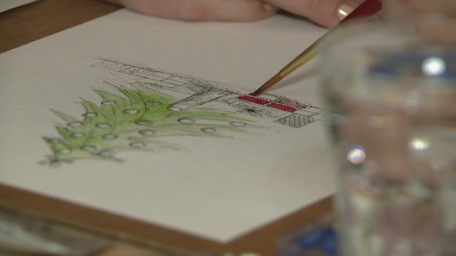 An illustration in progress of a Christmas tree.