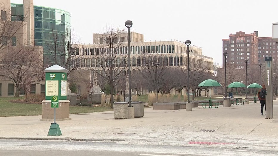 A photo of Wayne State University's campus on a winter day.