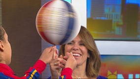 """Globetrotter star Briana """"Hoops"""" Green shows The Nine crew some moves"""
