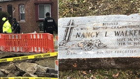Unknown gravestone unearthed during sewer repair on Detroit's west side