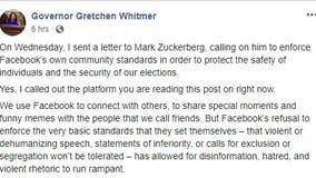 Gov. Whitmer sends letter to Facebook's Zuckerberg asking to do more to curb hate speech