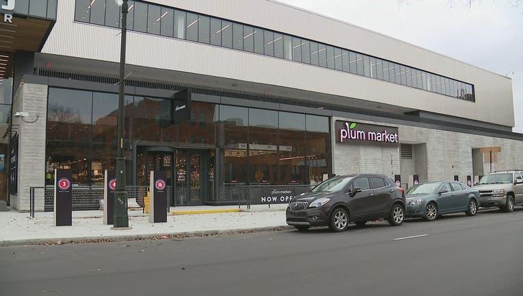 The exterior of Plum Market in Detroit