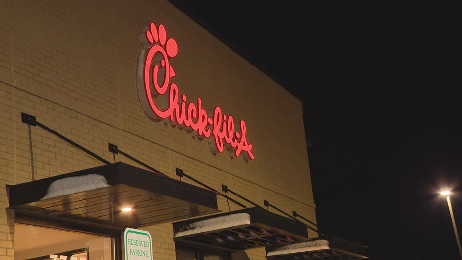 An exterior sign of Chick-fil-A