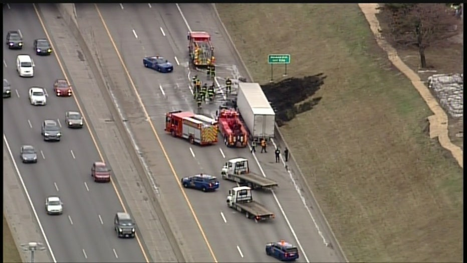 I-75 was closed Tuesday when a semi caught fire near I-94.