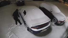 Dearborn Hts suspects pop back window of Charger, push it out in the snow in attempted theft
