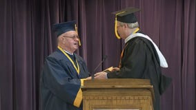 Korean War veteran who dropped out for the Army receives his diploma