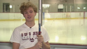 High school hockey player saved by defibrillator after collapsing