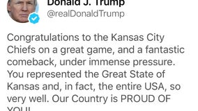 """Trump congratulates Kansas City Chiefs of """"the Great State of Kansas"""" in since-deleted Tweet"""