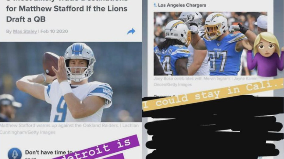 Screenshots from Kelly Stafford's Instagram @kbstafford89 of her responding to a report of a possible Matthew Stafford trade
