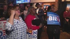 Joe Biden supporters in Detroit root on his Michigan Primary win