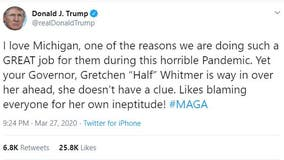 Trump slams Gov. Gretchen 'Half Whitmer' in new tweet over medical supplies