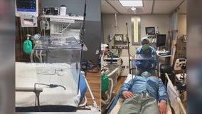 Riverview collision shop crafts shield prototype for Covid-19 nurses