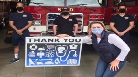 Ann Arbor woman's sign thanking frontline workers goes national