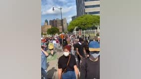 Hundreds march in downtown Detroit against police brutality