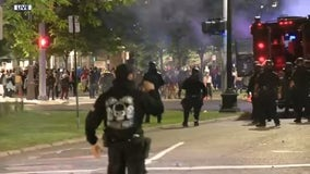 Second night of protests as demonstrators clash with Detroit police downtown