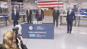Pres. Trump seen without face mask touring Ford plant in Ypsilanti