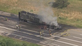 One killed in chain-reaction crash after semi hits three cars, starts fire on M14 in Plymouth Twp.