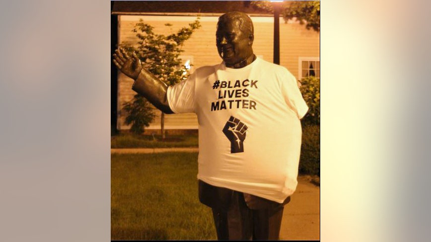 Statue of segregationist Dearborn Mayor Hubbard adorned in Black Lives Matter shirt before being removed