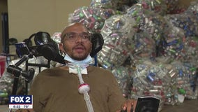 Paralyzed man's foundation which helps him and others, extends bottle and can donation drive